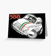 Fiat 500D caricature white Greeting Card