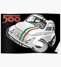 Fiat 500D caricature white Poster