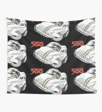 Fiat 500D caricature white Wall Tapestry