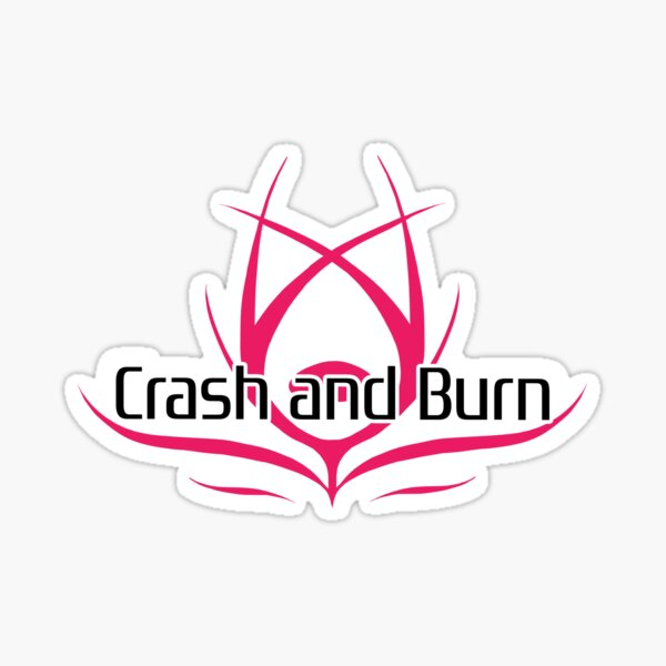 Crash and Burn Logo with Text Sticker