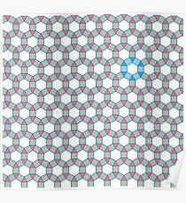 Tiling Tessellation In Green, Blue & Pink Poster