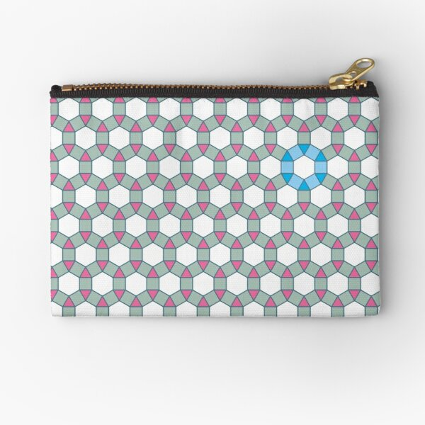 Tiling Tessellation In Green, Blue & Pink Zipper Pouch