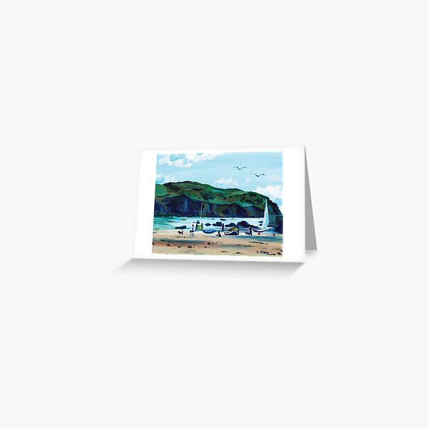 Looking from Hope Cove to Bolberry Down, Kingsbridge, Devon Greeting Card
