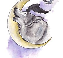Crescent Howl by Courtney Marie Art