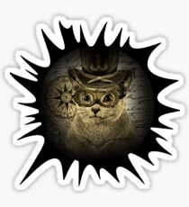 Cheeky Steampunk Cat with Goggles and Top Hat Sticker