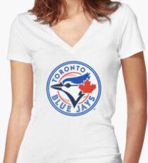 Toronto Blue Jays logo Women's Fitted V-Neck T-Shirt