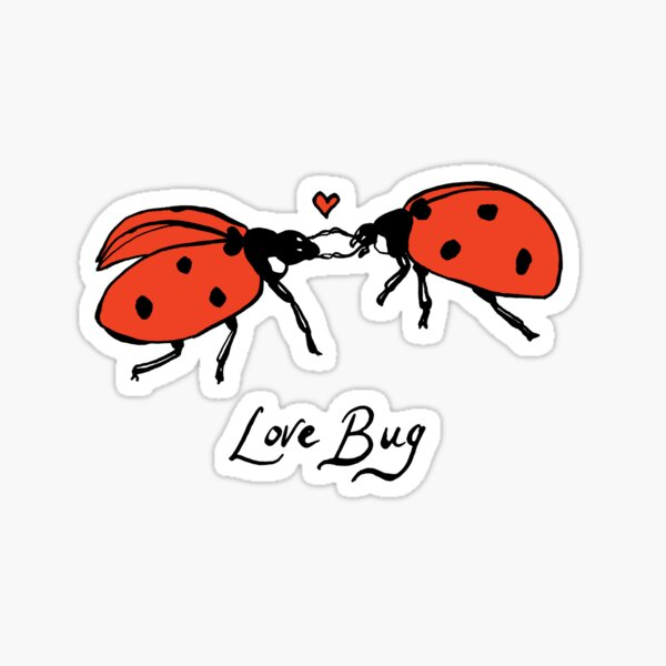 Love Bug, two ladybirds in love. Sticker