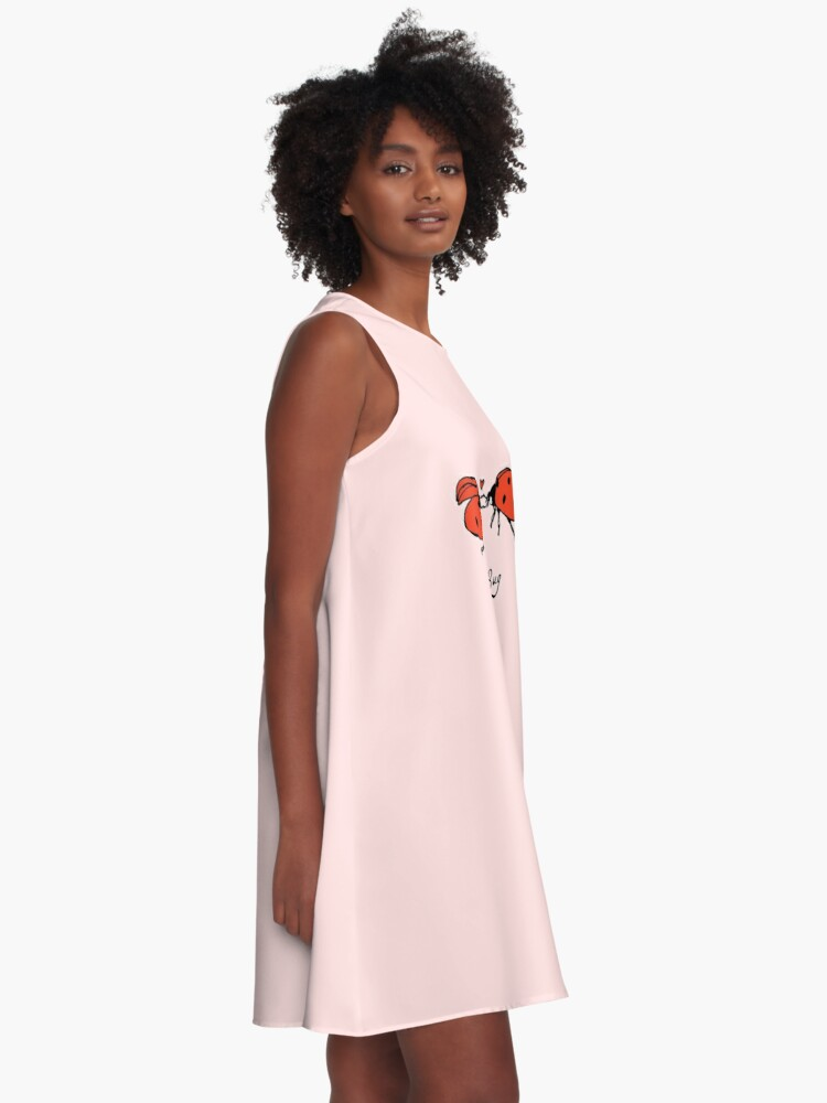 Alternate view of Love Bug, two ladybirds in love. A-Line Dress