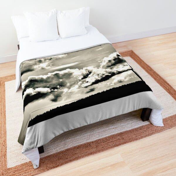 Low cloud and turbine sunset (B/W) Comforter