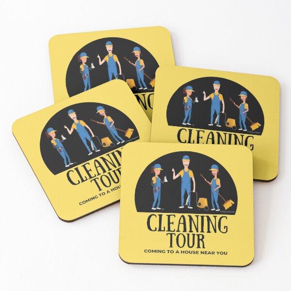Cleaning Tour Fun Housekeeping Vacuum Broom Spray Bottle Humor Coasters (Set of 4)