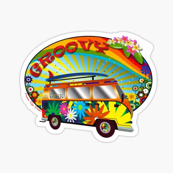 Groovy Hippy Van Sticker