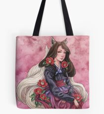 Gumiho/Kitsune with Camelias - Fox Spirit Girl Tote Bag