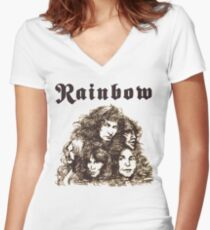 Long Live Rock and Roll Rainbow Women's Fitted V-Neck T-Shirt