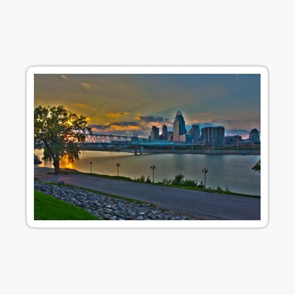 Cincinnati Skyline in HDR at Dusk Sticker
