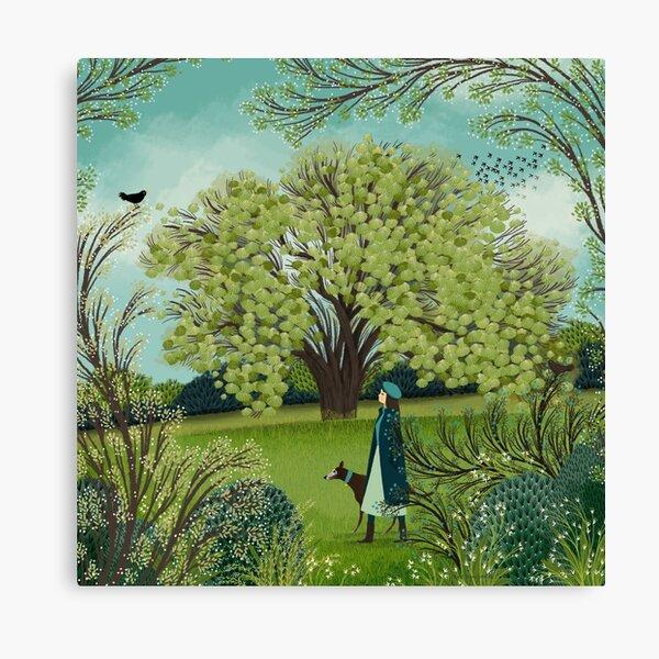 SPRING DOG WALK Canvas Print