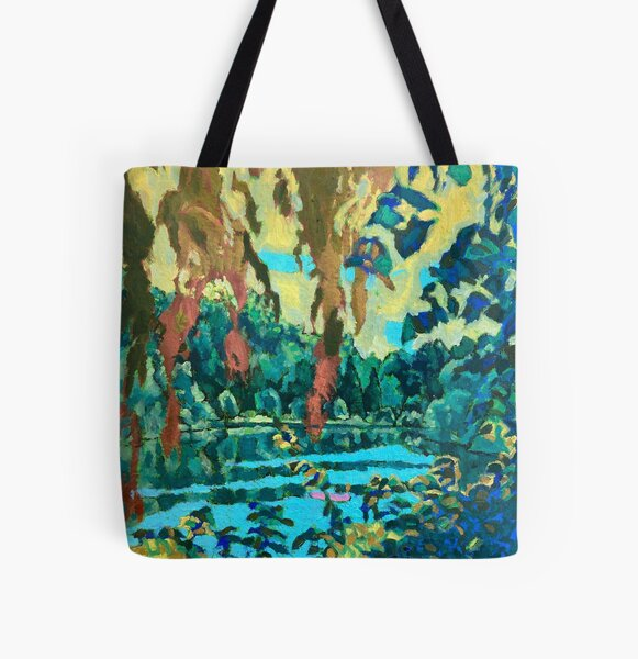 Willows on the pond All Over Print Tote Bag