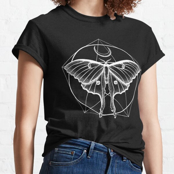 Luna Moth White Insect Crescent Moon Beautiful Elegant Design for Insect or Bug Lovers Classic T-Shirt
