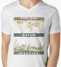Explore. Dream. Discover. Inspiration for the keen traveler. Men's V-Neck T-Shirt