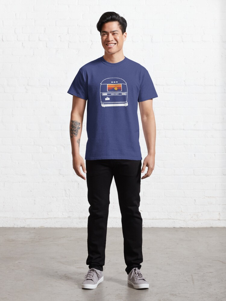 Alternate view of 1970's Retro Vintage Argosy Camper Sunset in Mountains Classic T-Shirt