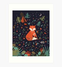 Camping With Fox Art Print