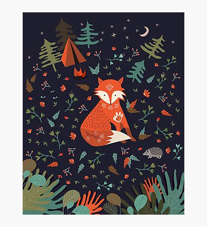 Camping With Fox Photographic Print