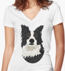 Beautiful Border Collie Women's Fitted V-Neck T-Shirt
