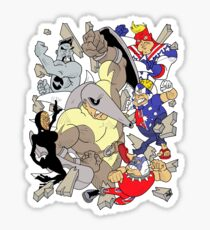 Down-Underian, Major Patriot, British Bulldog, All-Black, General Silverfern VS Echidnor! Sticker