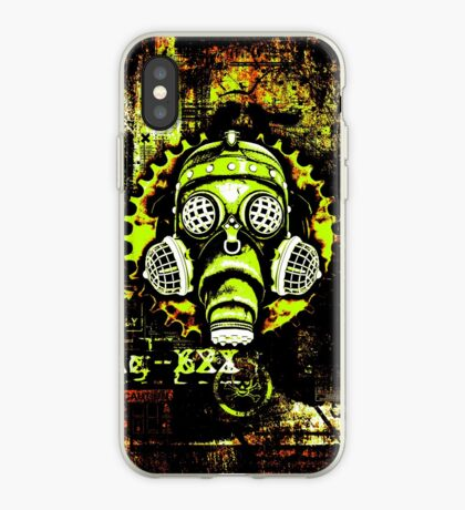 Steampunk / Cyberpunk Gas Mask Posterized Version iPhone Case