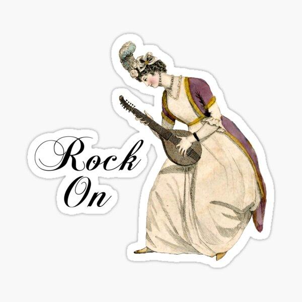 Regency Era Fashion Print Lady Playing Lute Music Rock and Roll Sticker