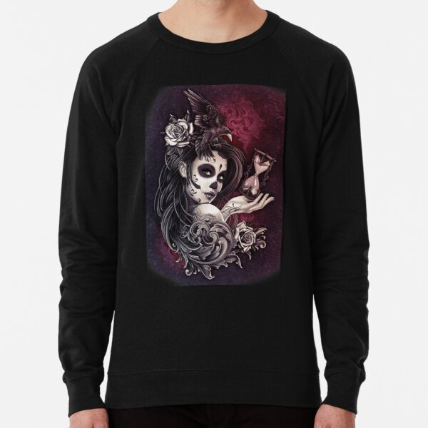 Girl Floral Sugar Skull Art  Lightweight Sweatshirt