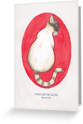 Siamese cat playing piano  cat artwork print gift 4x6