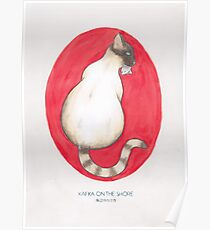 Haruki Murakami's Kafka on the Shore // Illustration of a Siamese Cat with a Fish in her Mouth in Pencil and Watercolour Poster