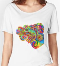 Psychedelizard Psychedelic Chameleon Colorful Rainbow Lizard Women's Relaxed Fit T-Shirt