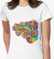 Psychedelizard Psychedelic Chameleon Colorful Rainbow Lizard Women's Fitted T-Shirt