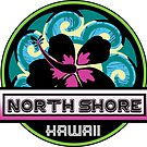 NORTH SHORE Hawaii Hibiscus Flower Wave Travel Vacation Decal Pink Green by MyHandmadeSigns