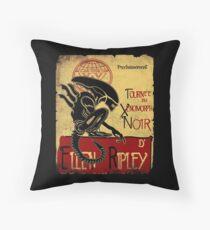 Tournee du Xenomorphe Noir Throw Pillow
