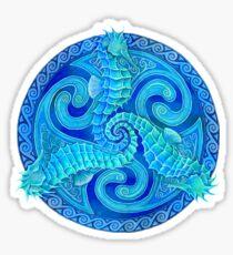 Seahorse Triskele Blue Celtic Mandala Sticker