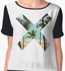 X Palm Tree Beach Chiffon Top