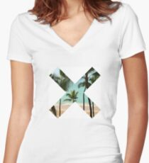 X Palm Tree Beach Women's Fitted V-Neck T-Shirt