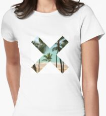 X Palm Tree Beach Womens Fitted T-Shirt
