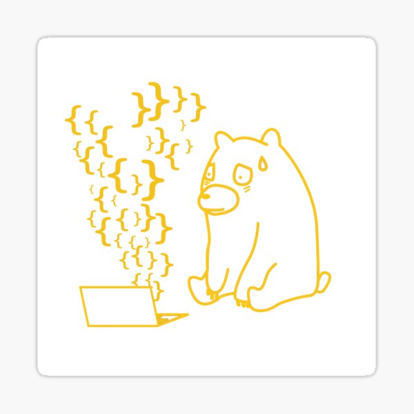 Curly Smoke Bear - Yellow Sticker