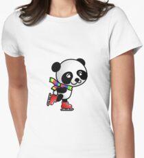 Skating Panda Womens Fitted T-Shirt