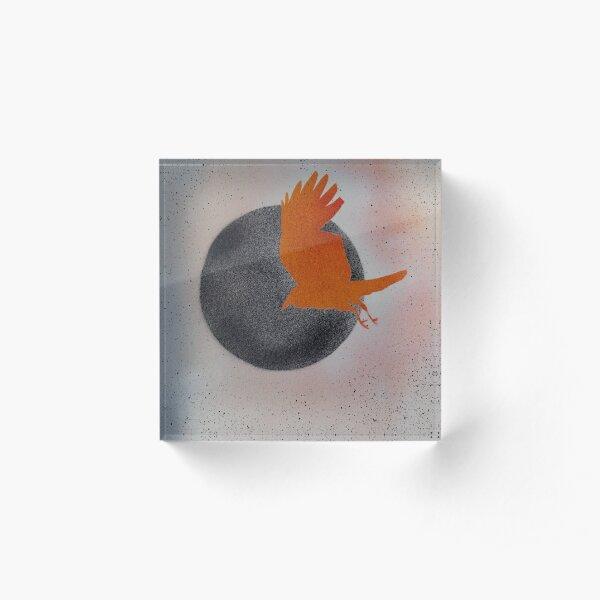 Raven on Black Moon Black Stars Acrylic Block