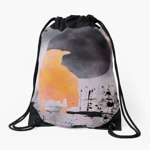 Black Moon Raven Drawstring Bag
