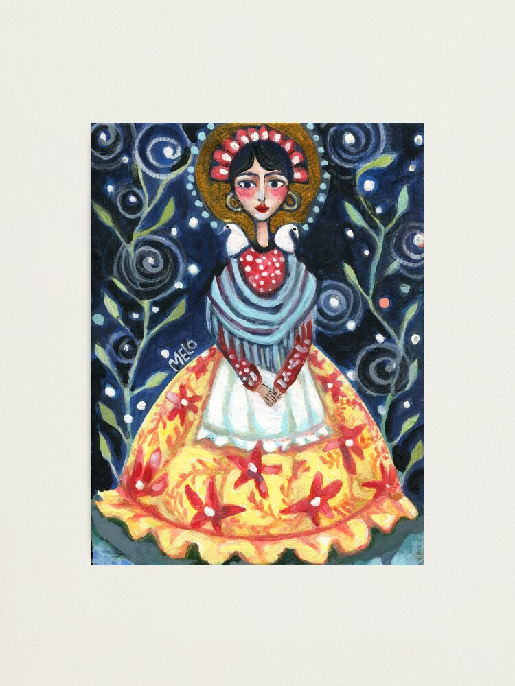 Alternate view of Frida Kahlo Portrait with Birds and Swirls, Halo, Yellow Dress, Night Sky, Meloearth                              Photographic Print