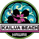 KAILUA BEACH Hawaii Hibiscus Flower Wave Travel Vacation Decal Pink Green by MyHandmadeSigns