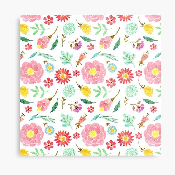 Pastel pink flowers blossom pattern Metal Print