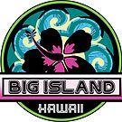 Big Island Hawaii Hibiscus Flower Wave Travel Vacation Decal Pink Green by MyHandmadeSigns