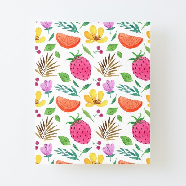 Strawberry refreshing summer pattern Canvas Mounted Print