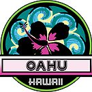 OAHU Hawaii Hibiscus Flower Wave Travel Vacation Decal Pink Green by MyHandmadeSigns